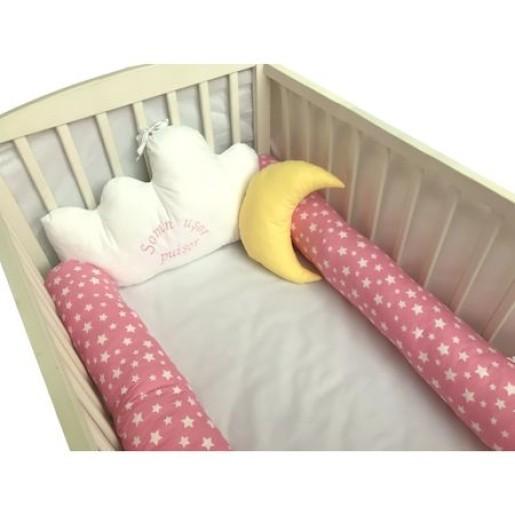 Aparatori laterale protectii pat cu bumper 140x70 cm Deseda Somn usor puisor roz