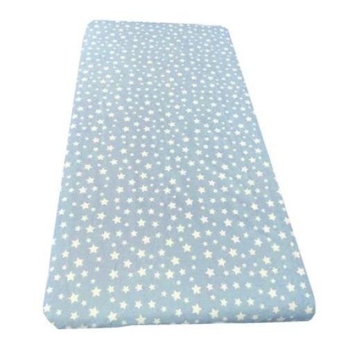 Cearsaf de pat cu elastic roata, imprimeu Stelute pe albastru