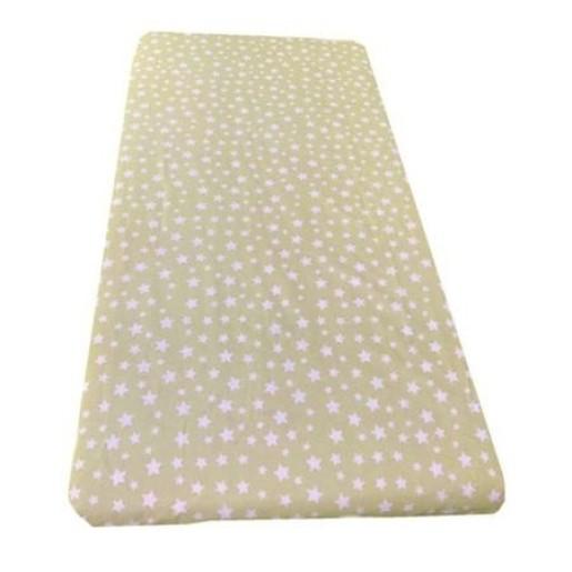 Cearsaf de pat cu elastic roata, imprimeu Stelute pe bej
