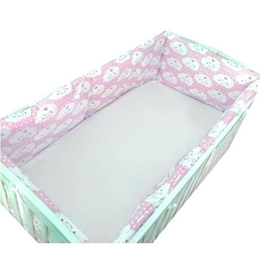 Set 4 aparatori protectii laterale pat pufoase 120x60 cm h39cm Deseda Norisori roz
