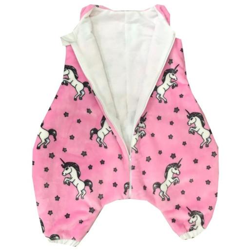 Sac de dormit de iarna, cu picioare din cocolino 1-3 ani Deseda Unicorni pe roz
