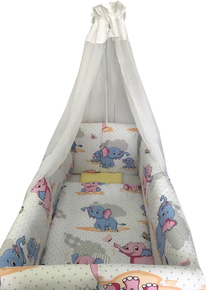Produse noi magazin online fabrică autentică Lenjerie de patut bebelusi 9 piese pat 120x60 cm cu baldachin si ...