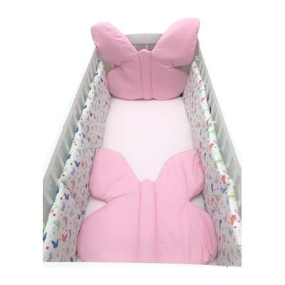 Set 4 aparatori pufoase in forma de Fluturas roz 140x70 cm Deseda