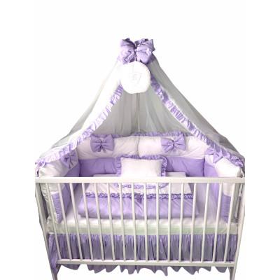 Lenjeria de pat bebeluși cu 4 apărători Super groase în 2 culori și baldachin cu Volanase și suport Deseda Lila- alb