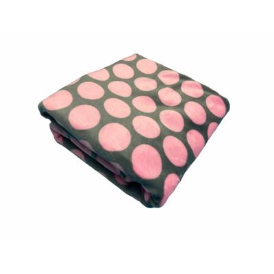 Paturica din plush cocolino Buline roz pe gri