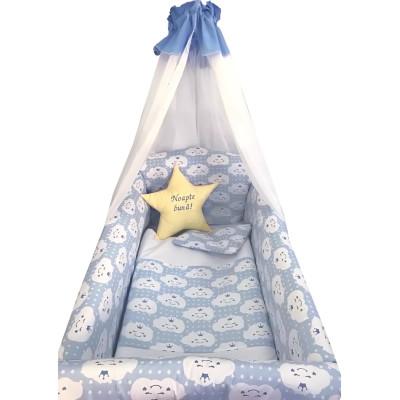 Lenjerie de patut bebelusi 9 piese pat 140x70 cm cu aparatori si baldachin Maxi Deseda Steluta Noapte buna Albastru