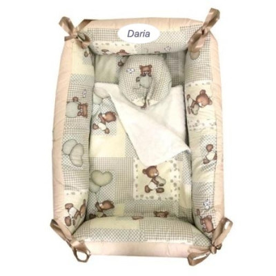 Reductor Personalizat Bebe Bed Nest cu paturica si pernuta antiplagiocefalie Deseda Ursi in carouri bej