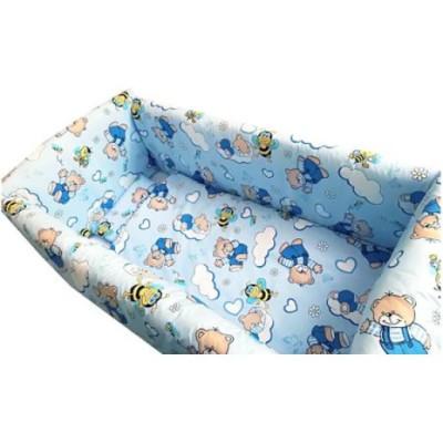 Lenjerie de patut bebelusi ursuleti cu albine pe albastru