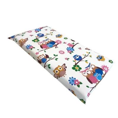 Cearsaf de pat cu elastic roata, imprimeu Bufnite maro