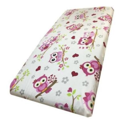 Cearsaf de pat cu elastic roata, imprimeu Bufnite roz
