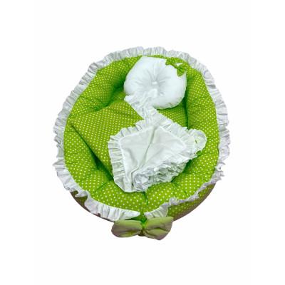 Cuib baby nest bebelusi cu volanase Verde cu buline albe LUX by Deseda