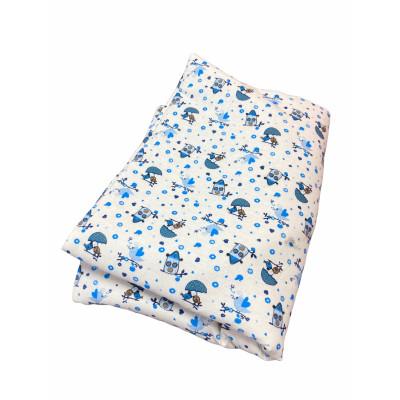 Lenjerie de pat din finet 3 piese Casute albastre
