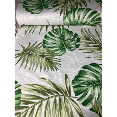 Cearsaf de pat cu elastic roata, imprimeu Frunze verzi