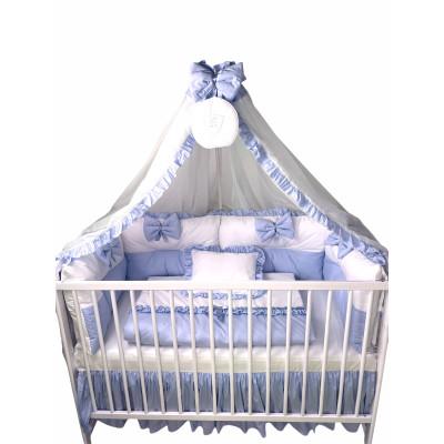 Lenjeria de pat bebeluși cu 4 apărători Super groase în 2 culori și baldachin cu Volanase și suport Deseda Bleo pal - alb