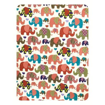 Paturica dubla din bumbac Elefantei roz