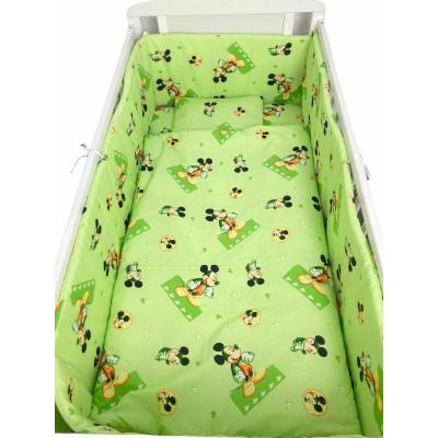Lenjerie de patut bebelusi 120x60 cm 5 piese cu aparatori laterale pe burete CN - Mickey mouse pe verde