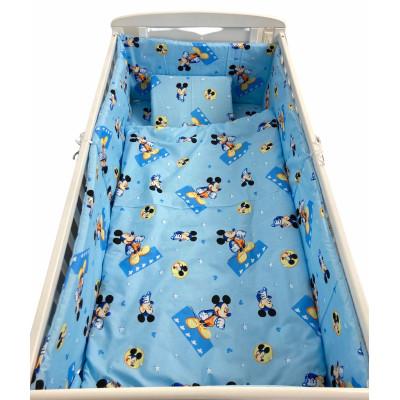 Lenjerie de patut bebelusi 120x60 cm 5 piese cu aparatori laterale pe burete CN Mickey pe albastru