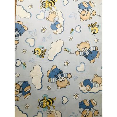 Cearsaf de pat cu elastic roata,  Ursuleti cu albine pe albastru