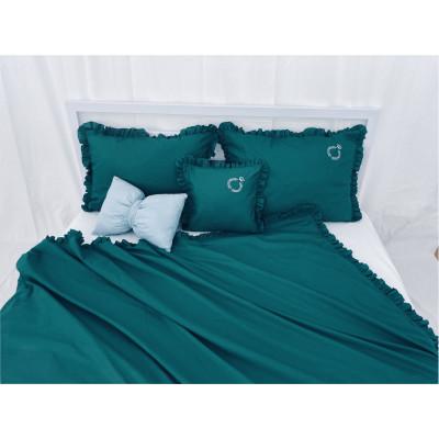 Lenjerie de pat cu 2 huse de perna și husa de pilota cu volanase și Broderie Verde smarald