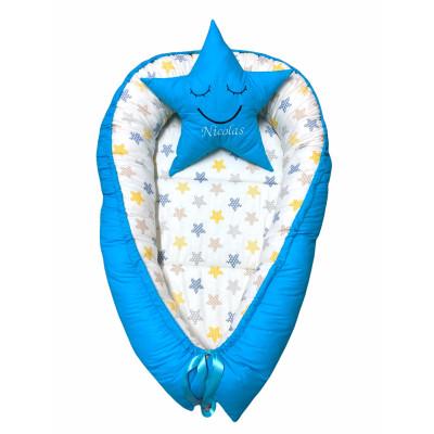 Cuib baby nest bebelusi cu desfacere Turquise - steluțe galben-gri