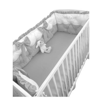 Set aparatori matlasate ptr 3 părți ale patului, Bicolore cu fundițe Deseda Alb - Gri
