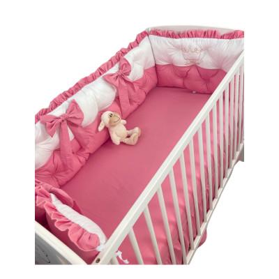 Set aparatori matlasate ptr 3 părți ale patului, Bicolore cu fundițe Deseda Alb - Roz