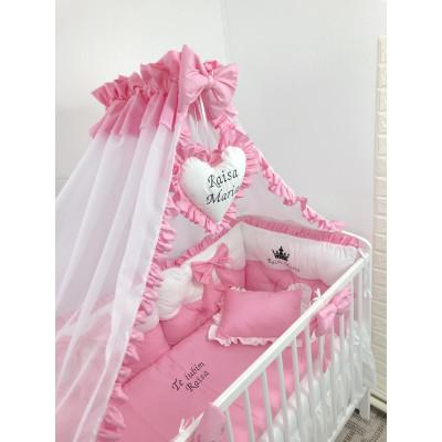 Lenjerie de pat cu 6 apărători matlasate Bicolore și fundițe Roz