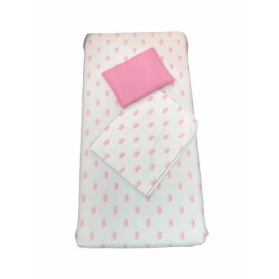 Set 3 piese cu cearsaf paturica si perna Coronite roz fond alb