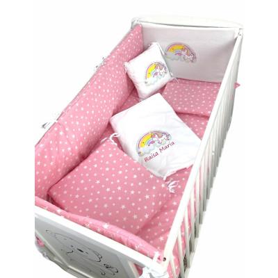 Lenjerie de pat Personalizata imprimata Stelute pe roz Unicorn cu curcubeu