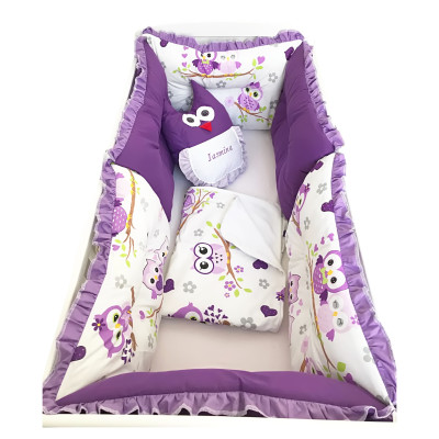Set de 6 bucati aparatori protectii laterale patut Deseda Bufnite violet