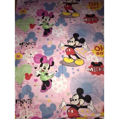 Bumbac satinat Ranforce Minnie si Mickey Mouse