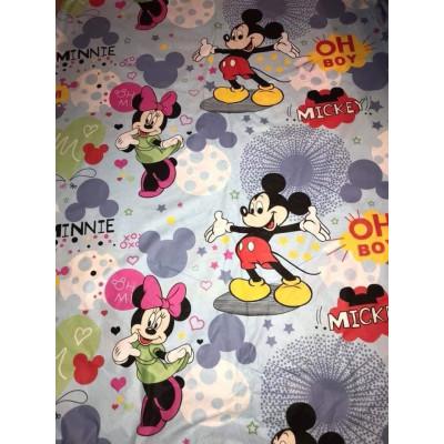 Bumbac satinat Ranforce Mickey și Minnie albastru