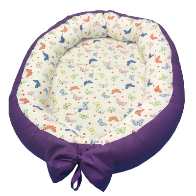 Cuib baby nest bebelusi forma ovala Fluturasi colorati- mov