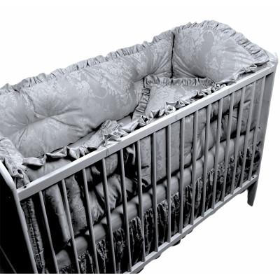 Lenjerie de pat bebe din Jackard Gri LUX by Deseda