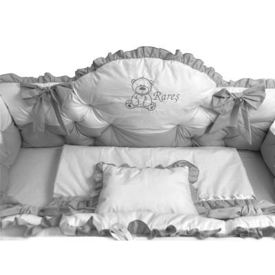 Lenjerie de pat cu apărători matlasate boltite, fundițe, 7 piese Gri - Alb