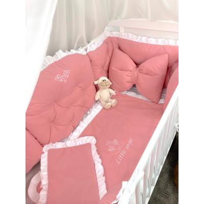 Lenjerie de pat cu apărători matlasate Little Angel Roz pudrat -alb