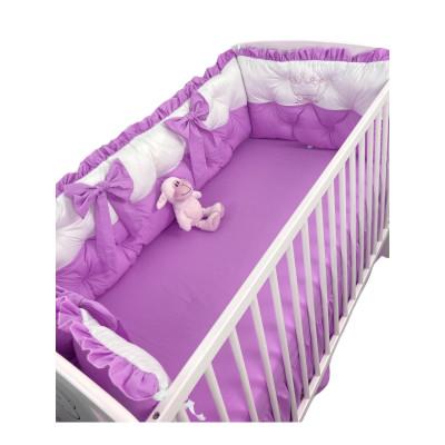 Set aparatori matlasate ptr 3 părți ale patului, Bicolore cu fundițe Deseda Alb - Lila