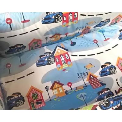 Cearsaf de pat cu elastic roata, imprimeu Oraselul copiilor