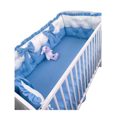 Set aparatori matlasate Bicolore cu fundițe Deseda Alb - Albastru pătuț bebeluși