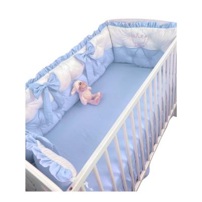 Set aparatori matlasate ptr 3 părți ale patului, Bicolore cu fundițe Deseda Alb - Albastru pal