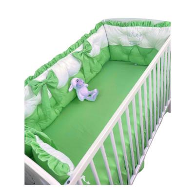 Set aparatori matlasate ptr 3 părți ale patului, Bicolore cu fundițe Deseda Alb - Verde