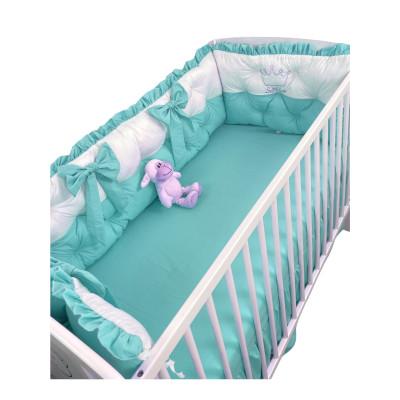 Set aparatori matlasate ptr 3 părți ale patului, Bicolore cu fundițe Deseda Alb - Verde menta