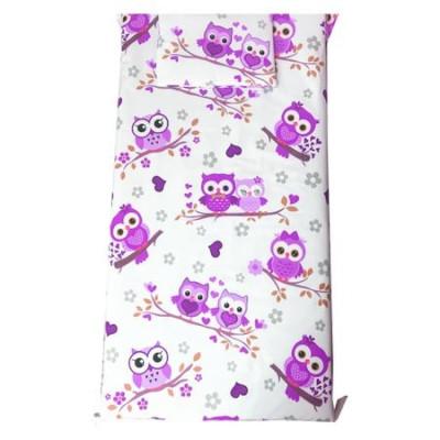 Set Paturica bebe cu Cearsaf si Pernuta pt pat 120x60 cm Bufnite cu violet