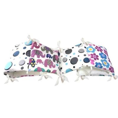 Aparatoare protectii laterale pat pufoase 120x60 cm h28cm Deseda Floricele-buline-elefantei
