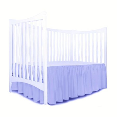 Cearsaf cu volanas pe 3 laturi si elastic pe colt, pentru saltea bebelusi 120x60 cm Deseda albastru