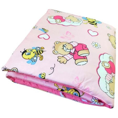 Aparatori laterale protectii laterale pat pufoase 120x60 cm h35cm Deseda Ursuleti cu albinute pe roz