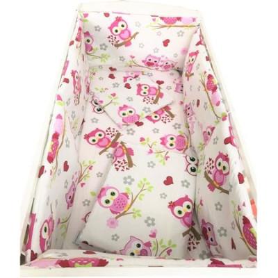Lenjerie de pat bebelusi 120x60 cm cu aparatori laterale pufoase Deseda Bufnite roz