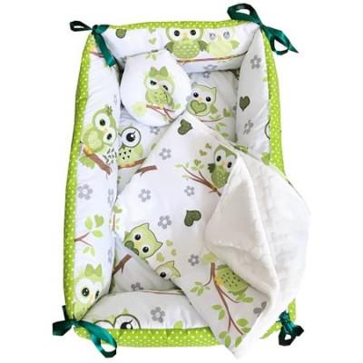 Reductor Bebe Bed Nest cu paturica si pernuta antiplagiocefalie Deseda Bufnite verzi
