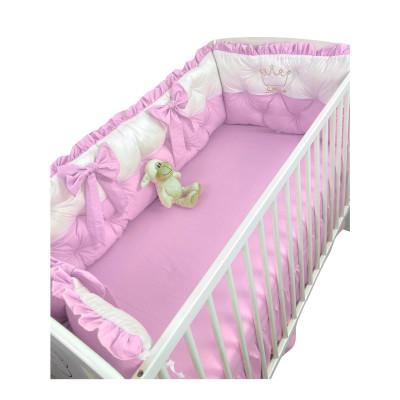 Set aparatori matlasate ptr 3 părți ale patului, Bicolore cu fundițe Deseda Alb - Roz pal