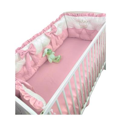 Set aparatori matlasate ptr 3 părți ale patului, Bicolore cu fundițe Deseda Alb - Roz pudrat